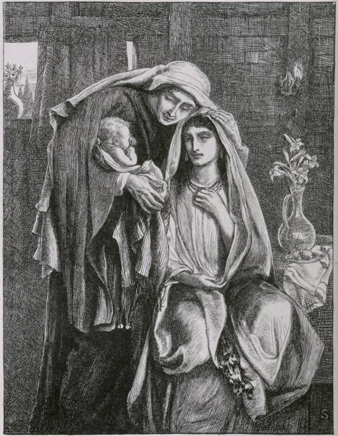 """Simeon Solomon's """"Naomi and the Child Obed"""" 1881 wood engraving was scanned by Simon Cook. You can see more of Simeon Solomon's Bible illustrations here."""