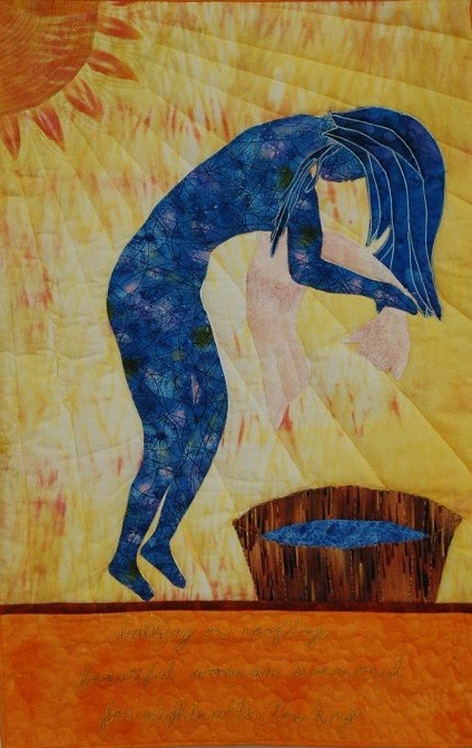 """""""Bath-Sheba"""" by quilt artist Dolores Fegan. See more of her Women of the Bible quilts here."""