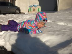 Scarlett spends some time out in the snow with Danielle.