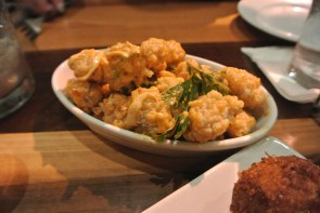 fried alligator with chili garlic mayonnaise