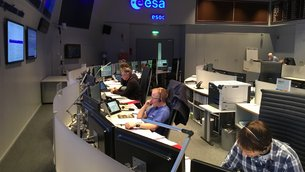 Sentinel-5P flight team during the final dress rehearsal at ESA's mission control centre, Darmstadt, Germany, on 10 October 2017.