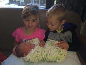 My new great nephew with his big brother and sister!