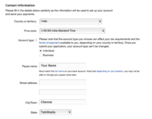 Adding payee Name in Google Adsense