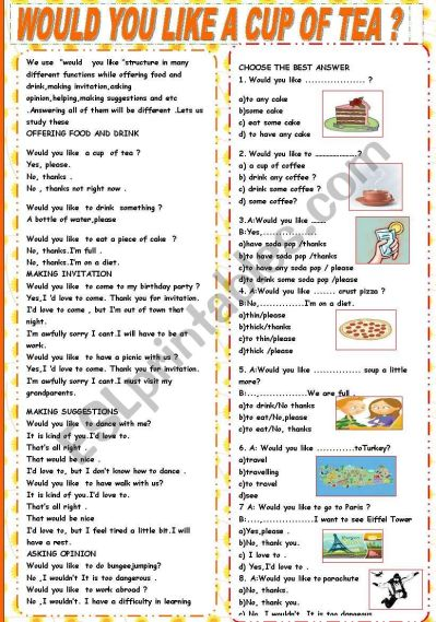 WOULD YOU LIKE A CUP OF TEA TEST (Key Included) - ESL worksheet by epit