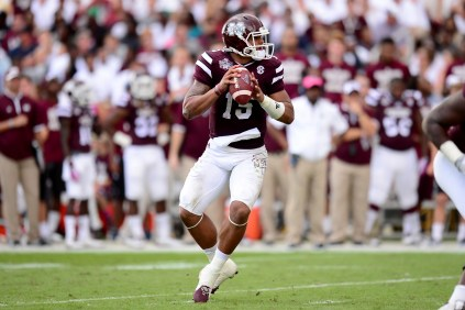 "Jon Gruden says of Mississippi State's Dak Prescott: ""Prescott is perhaps the No. 1 dual-threat quarterback this year. He can hurt you running or passing."" (Joe Faraoni/ESPN Images)"