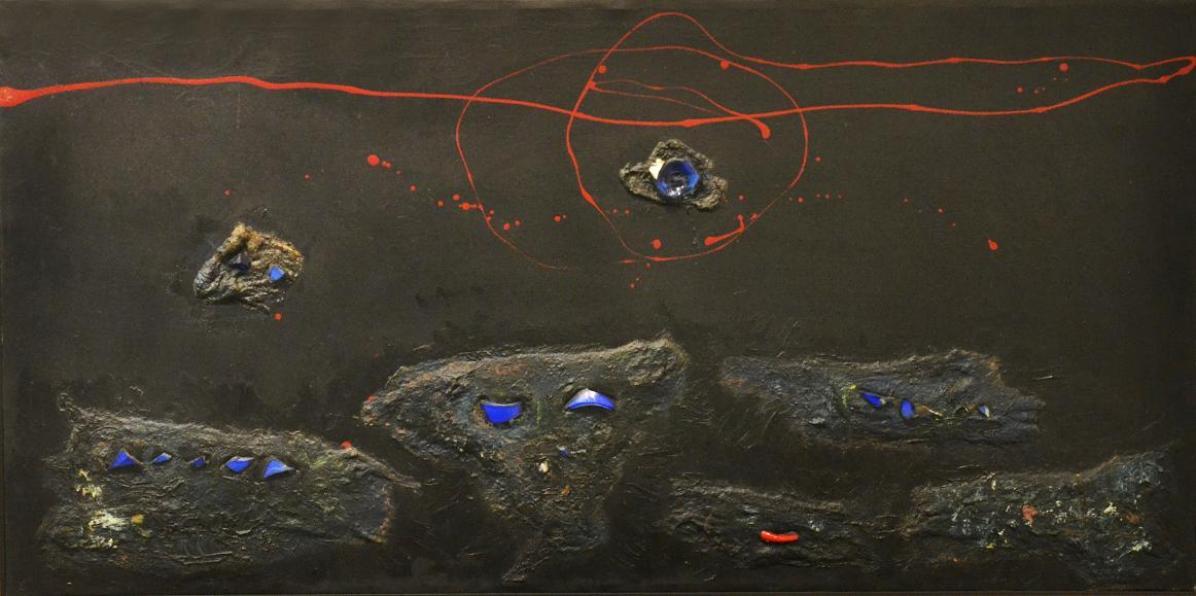 Galleria DI PAOLO ARTE, Enrico Baj, 'Senza titolo' 1956, olio collage di ovatta vetri colorati su tela cm.59.6x120