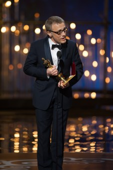 """Christoph Waltz accepts the Oscar® for performance by an actor in a supporting role for his role in """"Django Unchained"""" during the live ABC Telecast of The Oscars® from the Dolby® Theatre in Hollywood, CA, Sunday, February 24, 2013. credit: Michael Yada / ©A.M.P.A.S."""