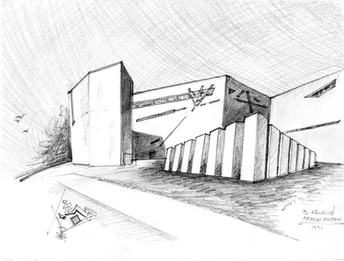 Daniel Libeskind, Libeskind, JewishMuseumBerlin_3, 1990, 30.5x24.1, pastelli e matita su carta
