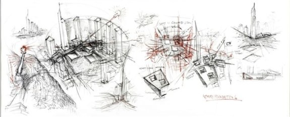 Daniel Libeskind, Libeskind, Word Trade Center Scroll, 2003, 223.5x83.8, carboncino su pergamena