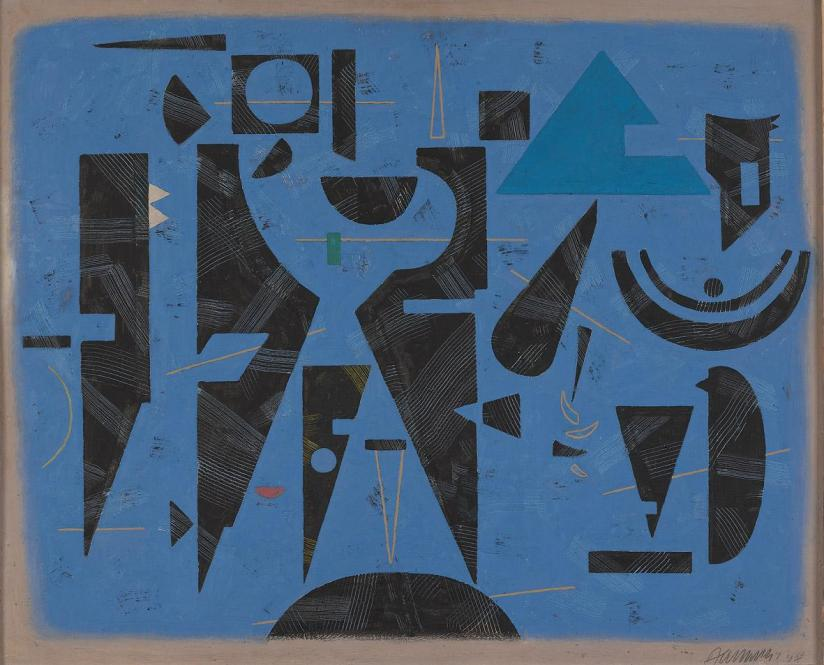 Willi Baumeister, Ruhe und Bewegung II (auf Blau) [Repose and movement II (on blue)], 1947, olio su pannello, cm 81x100, Daimler Art Collection Stoccarda / Berlino, acquisizione 1978