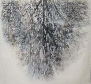 Lo specchio II, 2012, xilografia su tessuto, cm 140x148