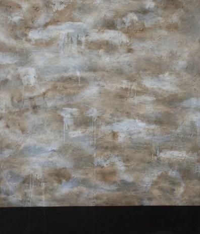 Alfredo Rapetti Mogol, Cielo mediterraneo, acrilico e bitume su tela, cm 120x140