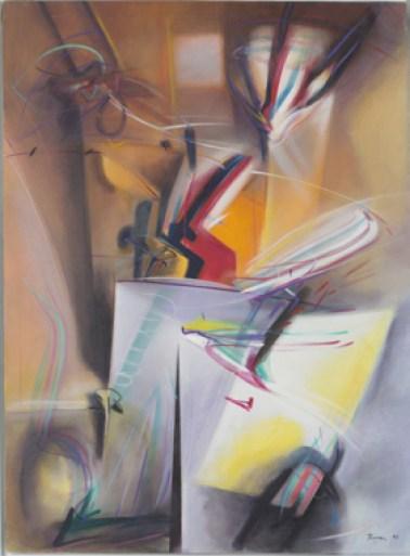 Renzo Bergamo, Sonata a 4 mani, 1997, olio su tela, cm 135x99