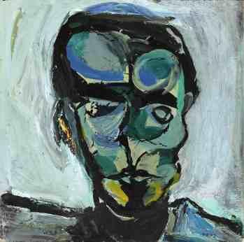 Mario Merz, Ritratto, anni '50, olio su tela, 42x42 cm Courtesy Del Ponte, Torino