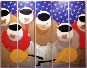 Khalid El Bekay, II Pausa amarilla, 2004, collage su tavola cm 205 x 270