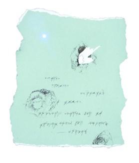"SILVIA IORIO | Odysseia | ""Codex #13"" | 2013, Rome | 50 x 50 x 3 cm | Crayons, Pastels, Lead Pencils, Paper, Bronzed Iron Frame | Signed | Courtesy: smART – polo per l'arte."