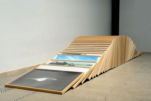 Petra Feriancova Collapsed Pillar, from the series An Order of Things II, 2013 50 framed photographs (cca 100x150 cm each) and iron structure variable dimensions (cca 600x150x h100 cm) unique edition courtesy the artist and amt project, Bratislava