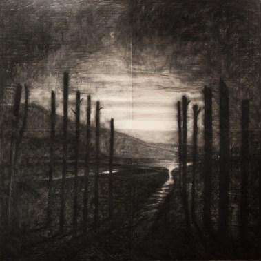 Omar Galliani, Paesaggio dei miei veleni (D'après Fontanesi), 2013, matita e acrilico su tavola di pioppo, 400x400 cm