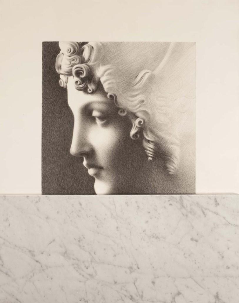 Omar Galliani, Inremeabilis error, 1978, matita su carta, marmo di Carrara, 100x70 cm