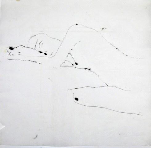 Stefano Giorgi, senza titolo, china su carta di tovagliolo, 45x45cm