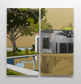 Guido Bagini, Technogreen #8, enamel on cardboard and zinc polished on dibond, 61x61 cm Courtesy The Flat - Massimo Carasi