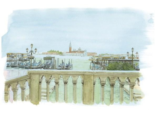Sguardi incrociati a Venezia, una delle tavole di Jirô Taniguchi, © LOUIS VUITTON MALLETIER / JIRO TANIGUCHI DROITS RESTREINTS LOUIS VUITTON TRAVEL BOOK VENISE 2014