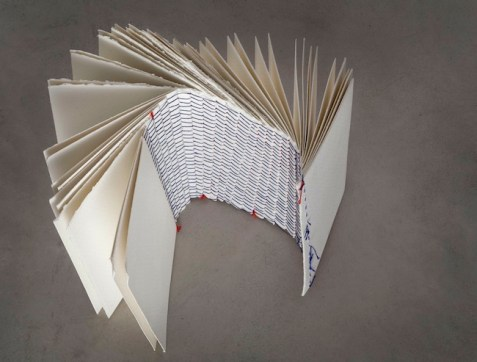 Sofia Stevi, The Spine Book II, 2014, carta senza cloro, filo, ph. Matteo De Fina
