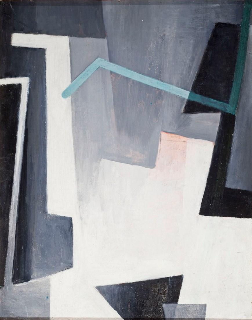 Hans Richter, Triptych in Gray, Red and Green, 1959, olio su tavola, tre elementi, ognuno 39.4x49.5 cm, Collezione privata © 2014 Hans Richter Estate Foto © 2013 Museum Associates/LACMA