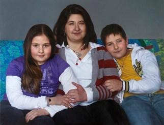 """Alessandra Ariatti Silvia, Monica e Giorgio. """"La Provvidenza nascerà prima del sole"""" (Lacordaire) 2010-2013 olio su tela / oil on canvas 162 x 210 cm"""