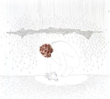 Tamara Ferioli, Prophecies and reversed memorie, 2014, matite e capelli su carta giapponese intelata, cm 150x170