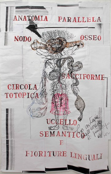 Sissi, Anatomia Parallela, 2014 libro d'artista, 33 x 23 cm tecnica mista, disegni, collage, testi