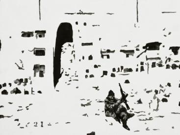 Andrea Mastrovito, Bamiyan, 2014, acrilico e collage su tavola, 31x41 cm Foto Maria Zanchi Courtesy Boxart, Verona