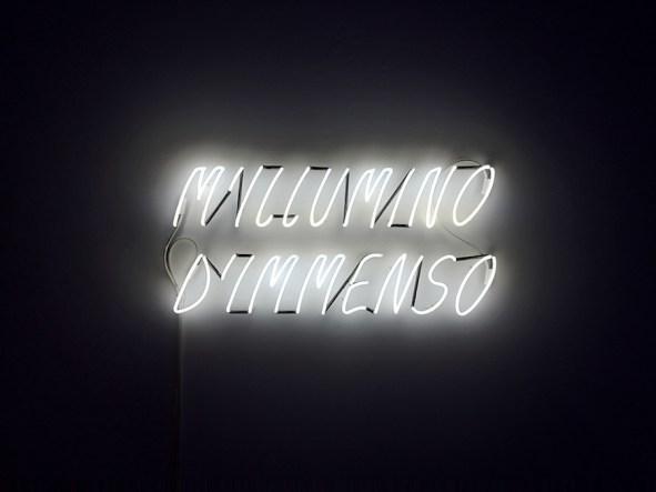 Alfredo Jaar, M'illumino d'immenso, 2013, neon, 95x200x5 cm, Collezione Merz