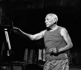 """Andre Villers, Picasso pendant tournage """" Le Mystere Picasso"""" de Henri Clouzot, Nice 1955, 122cm x 110cm, editionNo 4/7. Courtesy Suite 59 Gallery"""