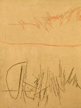 Achille Perilli, L'emploi du temp, 1959, tecnica mista su tela, 146x114 cm