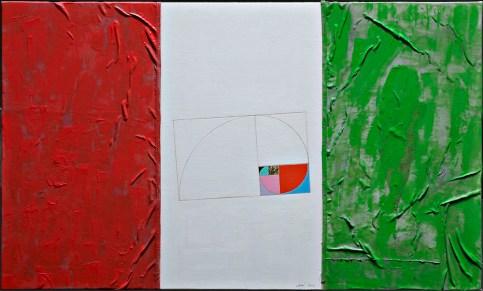 Eugenio Carmi, La Repubblica italiana, sezione aurea, 2012, tecnica mista su tavola, 60x100 cm