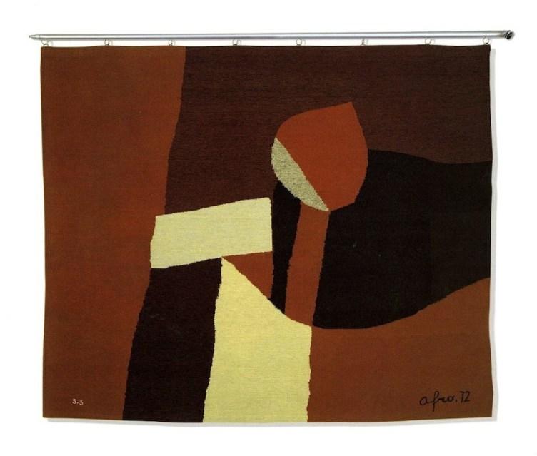 Afro, Lume di candela, 1972, arazzo in lana a sette colori eseguito su telaio a basso liccio, 155x185 cm