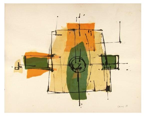 Eugenio Carmi, Senza titolo, 1958, olio e collage su carta, 45x56 cm Collezione dell'artista