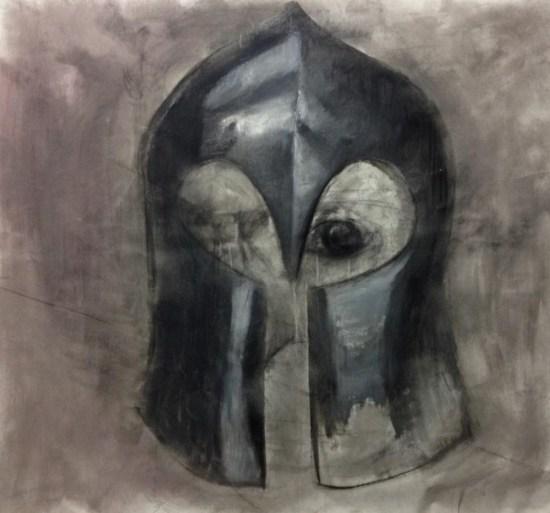Luca Caniggia, L'elmo di Matilde, 2015, olio e carboncino su tela, 160x160 cm