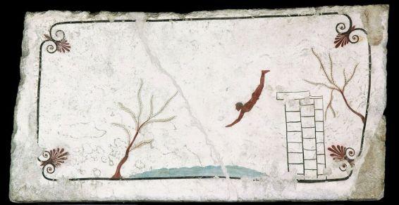 Tomba del tuffatore, particolare, da Paestum, località Tempa del Prete, 480 a.C., Museo Archeologico Nazionale, Paestum (cat.35)
