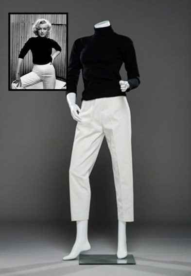 Marilyn Monroe's white capri pants combined with a black turtleneck sweater, beside framed picture by Alfred Eisenstedt. Collection Stampfer. Image collage: Copyrights Ted Stampfer