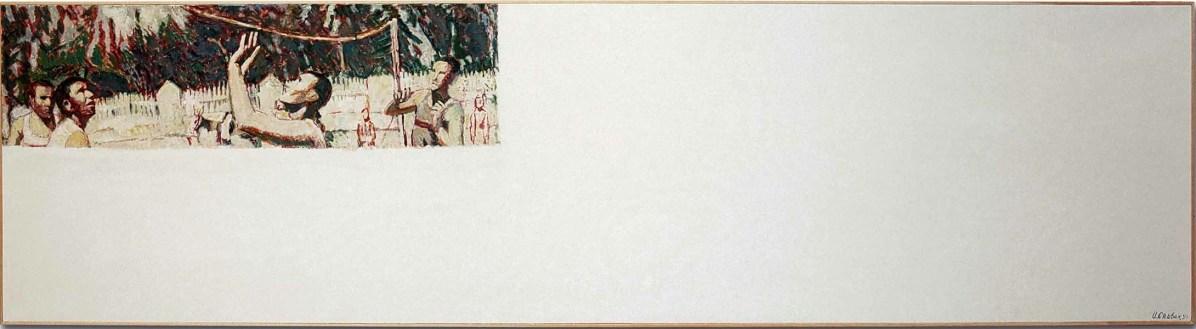 "Ilya Kabakov, Igor Spivak, 1971: ""The Volleyball Game"", 1991, olio su tela su tavola, 90x340 cm Courtesy Sprovieri, London Photo Ilya and Emilia Kabakov Studio, Long Island"