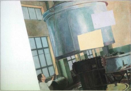 "Ilya Kabakov, Charles Rosenthal: Twelve Commentaries on Suprematism, 1926, ""In The Factory"", 1999, olio su tavola, 130x188 cm, Collezione Olgiati, Lugano Photo Ilya and Emilia Kabakov Studio, Long Island"