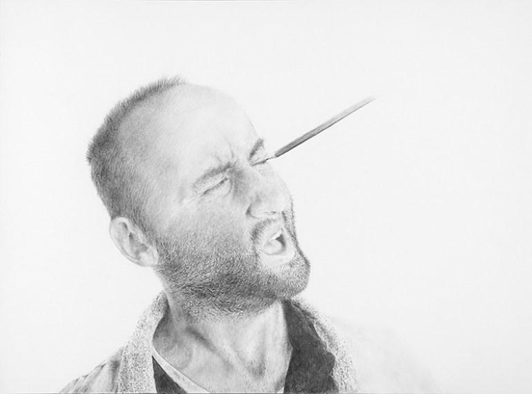 Massimiliano Galliani, Autoritratto - disegno E matita, matita su carta, cm 42x60