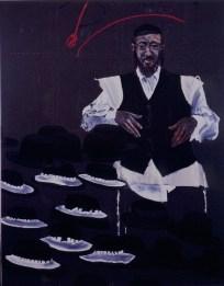 Aldo Mondino, Il cappellaio di Williamsburg, 1990, Oil on linoleum, 240x190 cm Photo credit Giorgio Benni Courtesy Galleria Gian Enzo Sperone