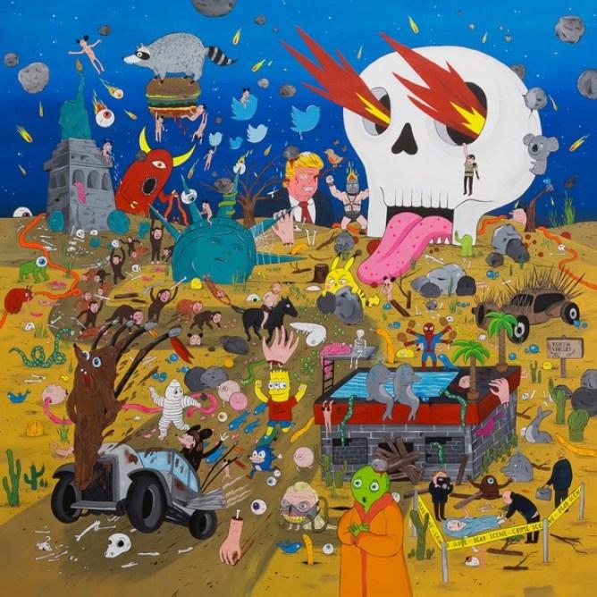 Laurina Paperina, Skull Valley, 2017, smalti all'acqua, acrilici e markers su tela, 140x140 cm