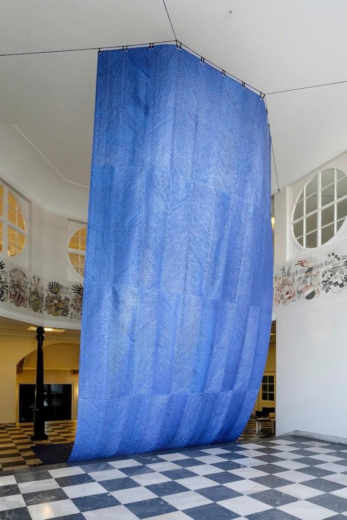 Mata Aho Collective, Kiko Moana, 2017, polyethene tarpaulin and cotton thread, installation view, Hessisches Landesmuseum, Kassel, documenta 14 Photo Michael Nast