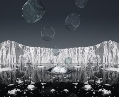 Aqua Aura, Dissolving Landscape, 2015, stampa digitale su carta cotone su alluminio e cornice floccata, 100x123 cm. Courtesy: l'artista