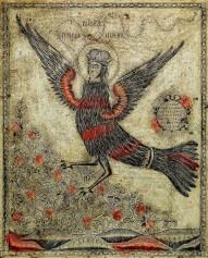 """Lubok, """"Raiska ptica Siren (L'uccello del paradiso, Sirin), secondo quarto del XIX secolo incisione in rame colorata, 345x290 mm, Milano, Collezione privata"""