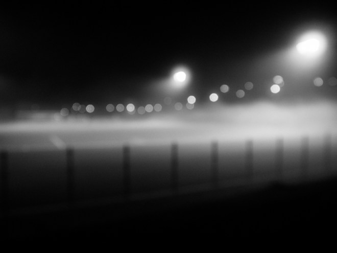 Bellingham soccer field in fog